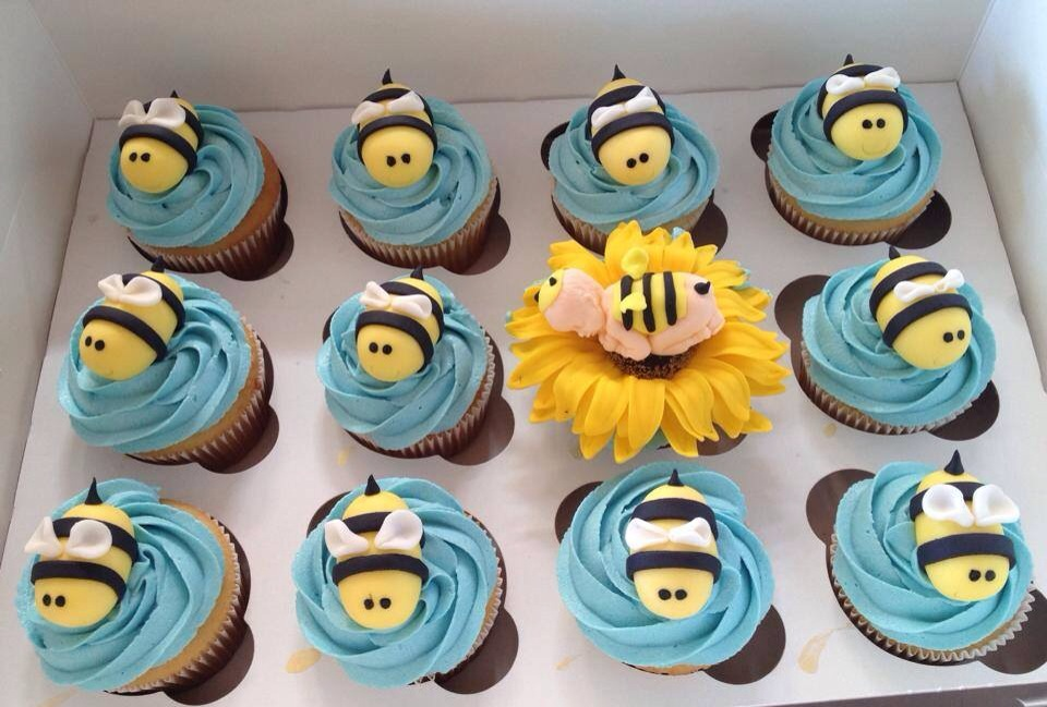 Bee Themed Baby Shower Cupcakes